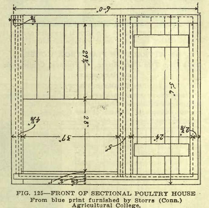 Front of Sectional Poultry House Plan