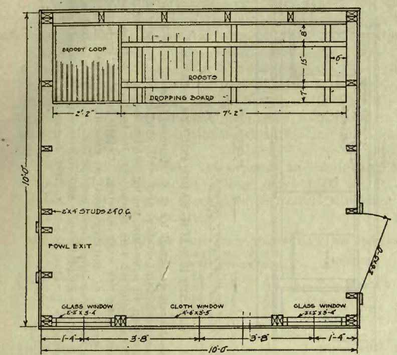 Fig 48 Floor Plan of House for 20 Chickens
